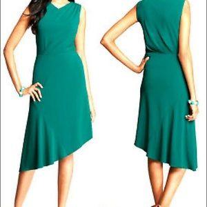 NWT $170 ANN TAYLOR green Asymmetrical dress M
